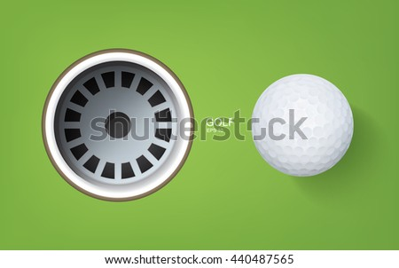 Top views of golf hole and golf ball on green background. - stock vector