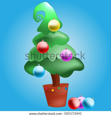 Topiary Christmas tree in clay pot on a blue background decorated Christmas tree balls in vector EPS 10