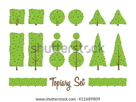 Topiary set. Different basic shape of bushes, trees. Green and brown trees. Square, circle, triangle shrub. Landscape design, gardening, park. Simple forms. Vector bushes elements on white background.