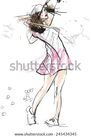 Topic: GOLF (Finishing position, young woman). An hand drawn illustration converted into vector. Vector is easy editable in layers and groups. - stock vector