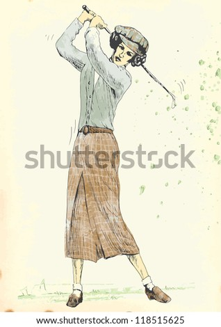 Topic: Golf (golfer - woman). Vintage processing, old fashioned player. Description: Editable in four layers. Number of colors in each layer: no more than sixteen. - stock vector