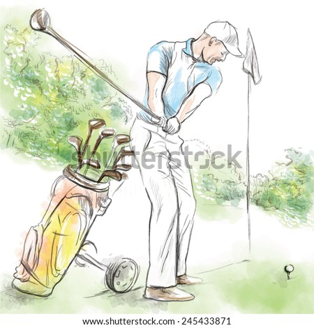 Topic: GOLF (Posture, Golf swing). An hand drawn illustration converted into vector. Vector is easy editable in layers and groups. - stock vector