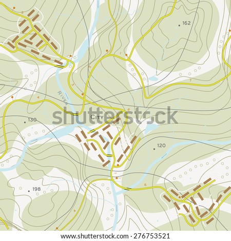 Topographic map of territory with rivers, forests and roads - stock vector
