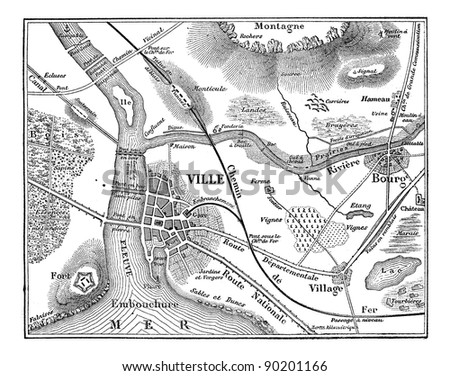 Topographic map, vintage engraved illustration. Magasin Pittoresque 1875. - stock vector