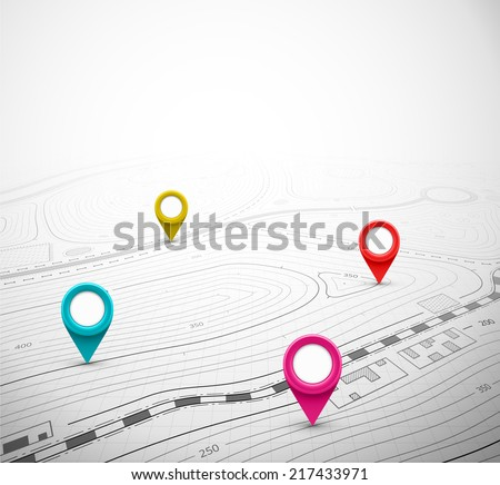 Topographic map with pin, eps 10 - stock vector