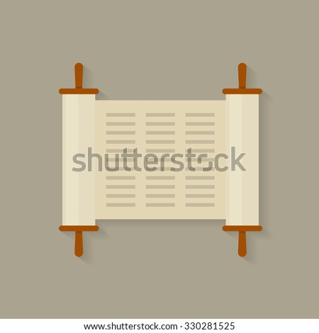 Torah scroll icon. Torah scroll in flat style. Jewish Torah in expanded form. Flat illustration Torah Book, Jewish Torah, law Books. Simple old parchment scroll with the text. Symbol old scroll. - stock vector