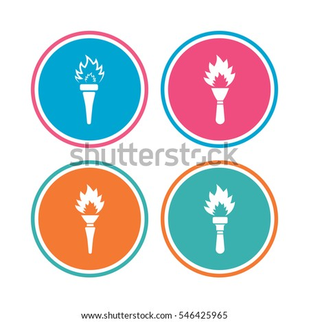 Torch flame icons. Fire flaming symbols. Hand tool which provides light or heat.  sc 1 st  Shutterstock & Torch Flame Icons Fire Flaming Symbols Stock Vector 257812108 ... azcodes.com