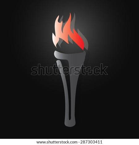 Torch icon on black background - Vector