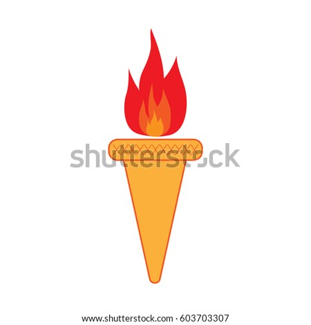 Torch Sign Olympic Flame Symbol Colorful Stock Vector 603703307