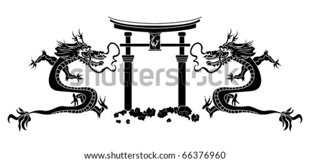 Torii and asian dragons stencil