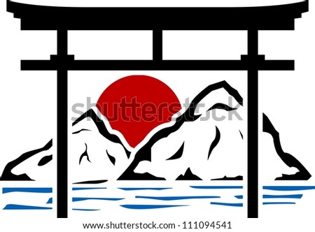 torii gate and sunrise. stencil. vector illustration - stock vector