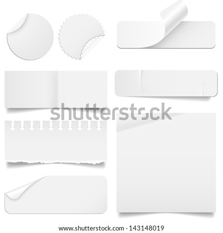 Torn and Folded Paper Set - Set of paper elements isolated on a white background.  Paper elements have rips, creases and folding corners.  EPS10 file with transparency. - stock vector