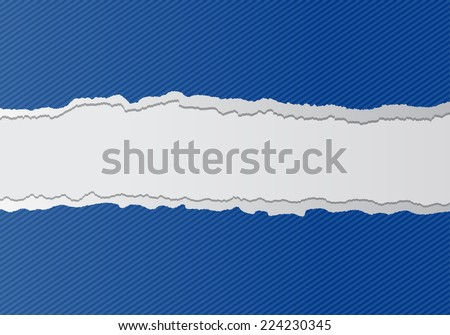 Torn blue paper background with space for text - stock vector