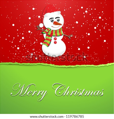 Torn Christmas Paper with Snowman - Vector Illustration. - stock vector