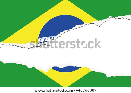 Torn 3D Isometric Flag Illustration of the country of Brazil