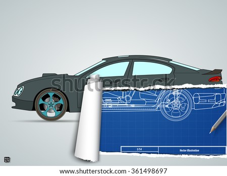 Torn drawing car on blueprint car stock vector hd royalty free torn drawing car on the blueprint car vector illustration eps 10 malvernweather Image collections