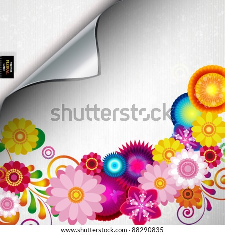 Torn floral background for gift design. Bright decor with abstract flowers and leafs. - stock vector