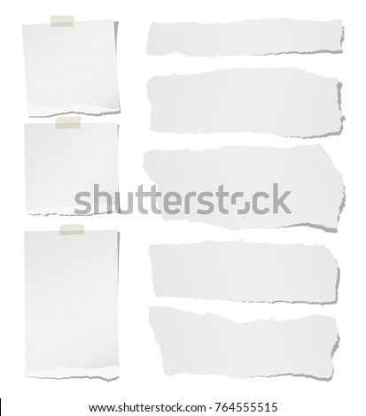 Torn horizontal, note, notebook, copybook paper strips, sheets for text or message stuck with sticky tape on white background.