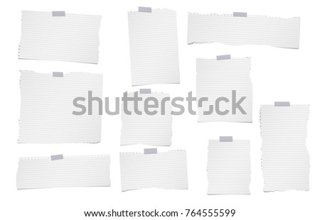 Torn lined, note, notebook, copybook paper sheets for text or message stuck with sticky tape on white background.