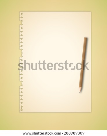 Torn Note Paper and Pencil Vector - stock vector