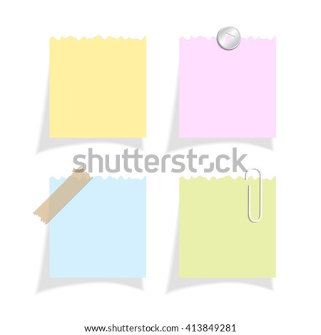 Torn note papers vector illustration isolated on white background - stock vector