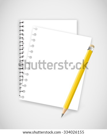 Torn notebook pages with pencil vector - stock vector