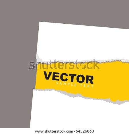 Torn paper background concept with yellow sheet and shadow - stock vector