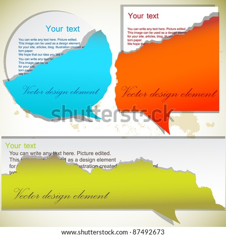 Torn paper bubbles with space for text - stock vector