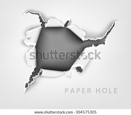 torn paper. hole in the notebook sheet in a cage - stock vector