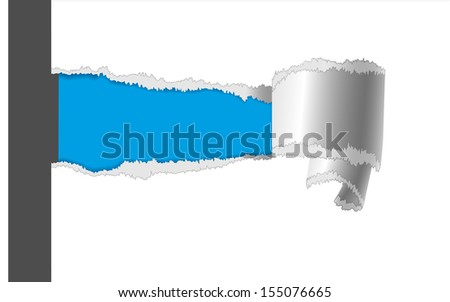 Torn paper label. Illustration of torn white paper with space for your message. - stock vector