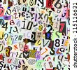 Torn paper letters and numbers vector. Repeating seamless wallpaper background. Continuous pattern left, right, up and down - stock photo