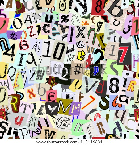 Torn paper letters and numbers vector. Repeating seamless wallpaper background. Continuous pattern left, right, up and down - stock vector