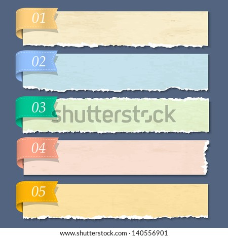 Torn paper numbered banners. Vector EPS10 - stock vector