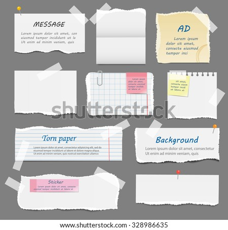 Torn paper pieces, old paper, blank squared and lined notepad pages pieces and design elements for attaching paper: pins, scotch tape and paperclip set, isolated, vector illustration - stock vector