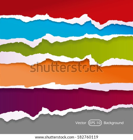 Torn paper set - stock vector