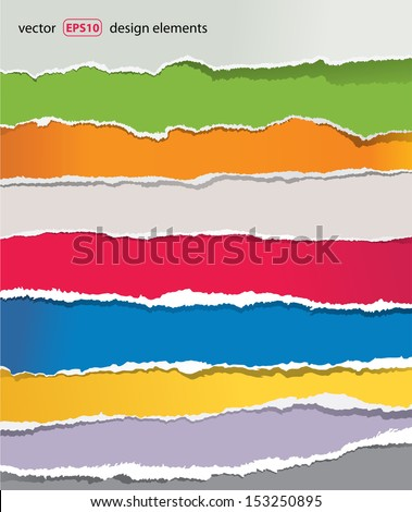 torn paper set, vector - stock vector