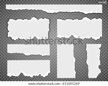 Torn paper sheet, ripped paper edges isolated on transparent background . Vector EPS10 illustration.