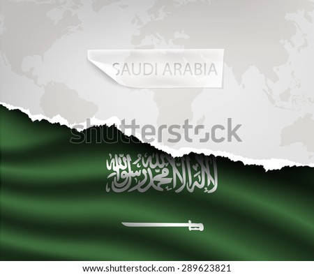 torn paper with hole and shadows SAUDI ARABIA flag - stock vector