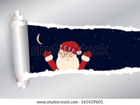Torn paper with sky and Santa Claus in vector