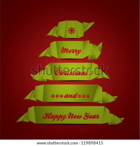 Torn papers in the shape of Christmas tree. Vector Illustration - stock vector