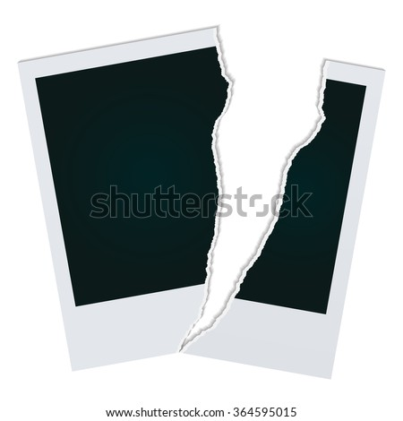 torn photos - stock vector