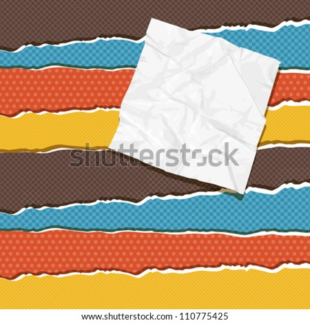 Torn scratch paper vintage background. Vector texture. - stock vector