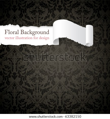 Torn seamless floral background for vintage design. Free place for text. Black ornament with abstract flowers and leafs. - stock vector