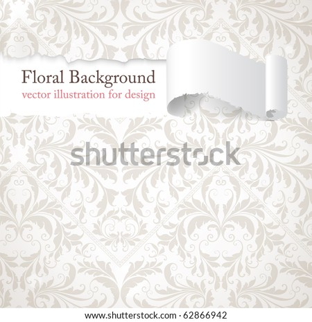 Torn seamless floral background for vintage design. Free place for text. Light ornament with abstract flowers and leafs. - stock vector