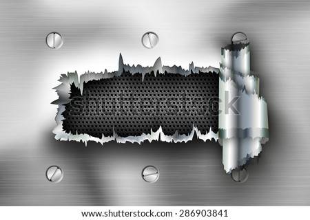 torn sheet steel. hole in the metal with bolts - stock vector