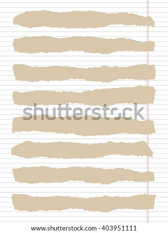 Torn white lined notebook paper with margin and copy space, sticked on light brown background