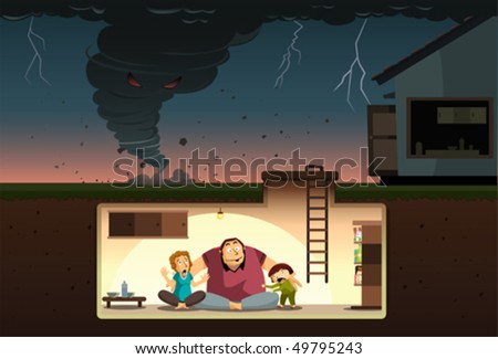 Tornado Attack! A family hiding from the raging tornado inside an underground bunker.