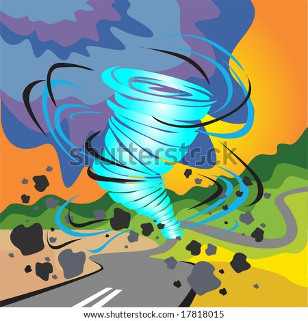 tornado-cyclone-hurriance-storm-tempest-gale-wind - stock vector
