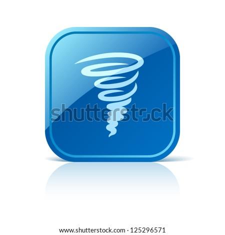 Tornado icon on blue square button - stock vector