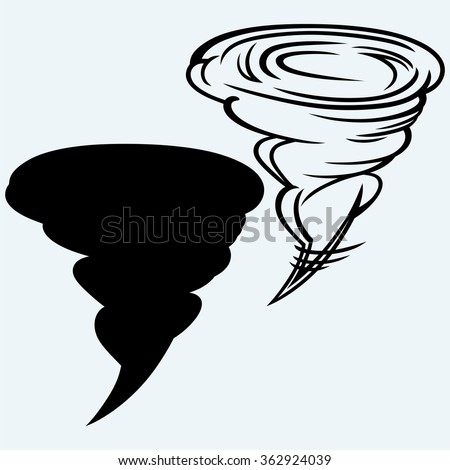 Tornado in the evening from a supercell. Isolated on blue background. Vector silhouettes - stock vector